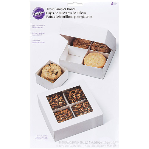 Wilton 4-Cavity Sampler Treat Box with Removable Trays, 3 ct. 415-1431