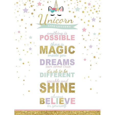 Girl's Room Unicorn Magic Life Lessons - Unframed Rainbow Sparkle 12x16 Inch Wall Decor Art Print Poster