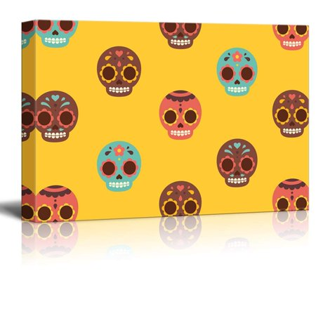 wall26 Canvas Print Wall Art - Day of the Dead (Dia De Los Muertos) Themed Skulls - Gallery Wrap Modern Home Decor | Ready to Hang - 16x24 inches (Home Decor Themes)