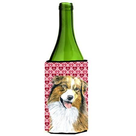 Australian Shepherd Hearts Valentines Day Wine bottle sleeve Hugger - image 1 of 1