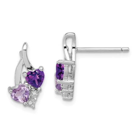 Roy Rose Jewelry Sterling Silver Amethyst and Pink Quartz and Diamond Earrings