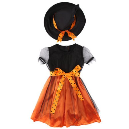 Children Kids Costume Girl Halloween Festival Fancy Dress Outfits + Witch Hat CA