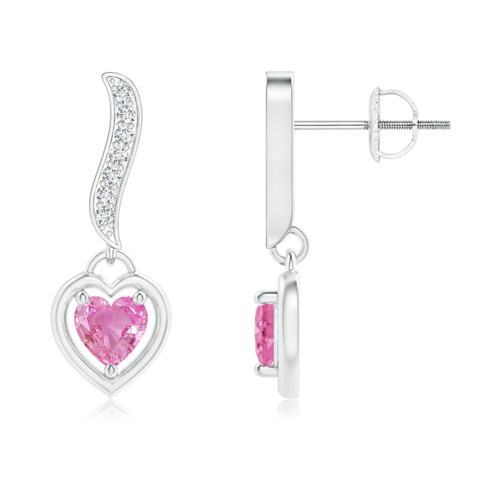 Angara Heart Shaped Pink Sapphire Earrings in White Gold 9K0UN1