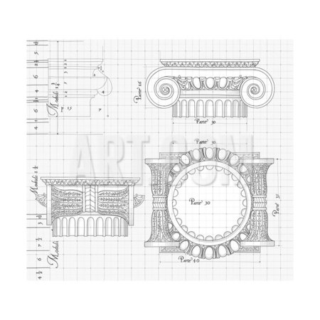 Blueprint - Hand Draw Sketch Ionic Architectural Order Based The Five Orders of Architecture