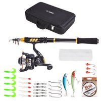 """""""Fishing Rod and Reel Combo Carbon Fiber Telescopic Fishing Rod with Spinning Reel Fishing Line Lures Hooks Swivels Saltwater Freshwater Travel Fishing Accessories Kit"""""""