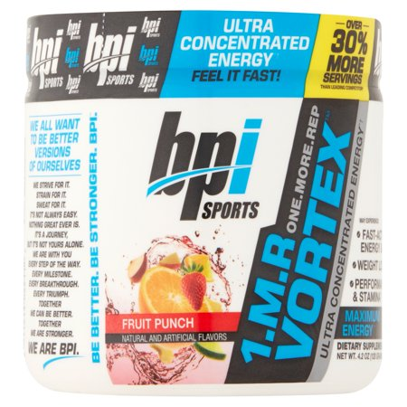 BPI Sports 1.MR Vortex Pre-Workout Fruit Punch Complément alimentaire en poudre, 4,2 oz