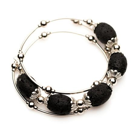 Essential Oil Diffuser Aromatherapy Lava Rock 5 Stone Wrap Bracelet by Izzybell Jewelry
