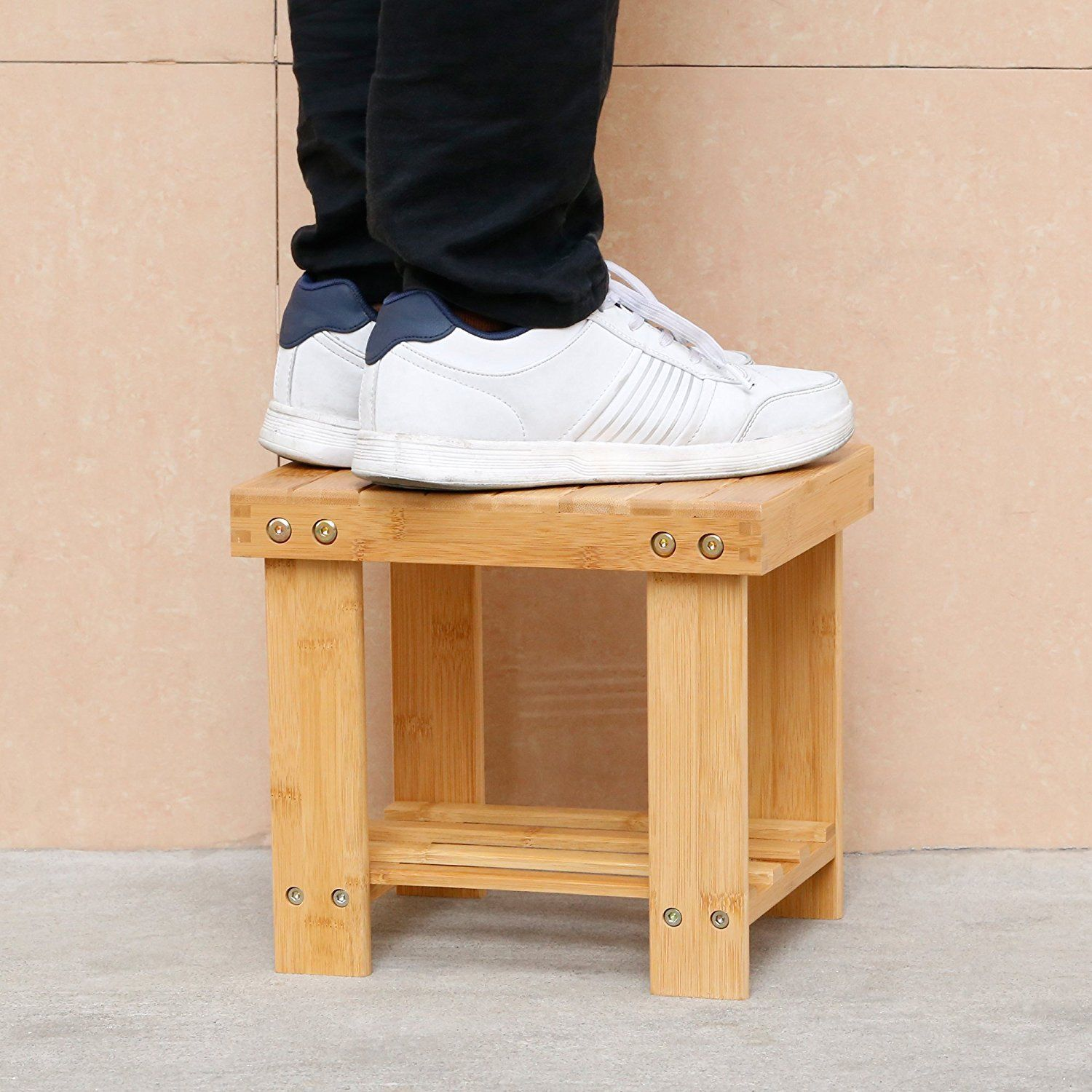Ktaxon Multfunctional Kids Bamboo Stepping Stool Bench Chair With Storage Shelf,Wood Color
