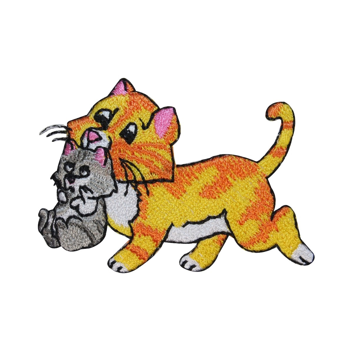 ID 2966 Mother Cat Holding Kitten Patch Mama Baby Embroidered Iron On Applique
