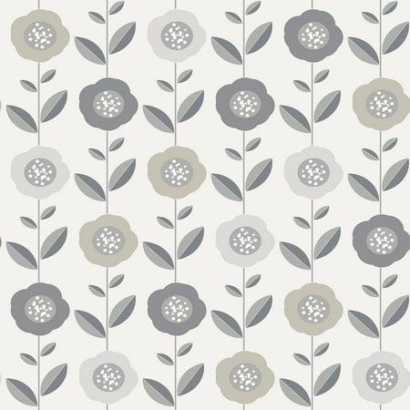 Coloroll Helsinki Silver Flowers Wallpaper ()