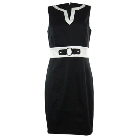 AGB Women's Contrast Cotton Blend Sheath Dress (2, (Cotton Sheath)