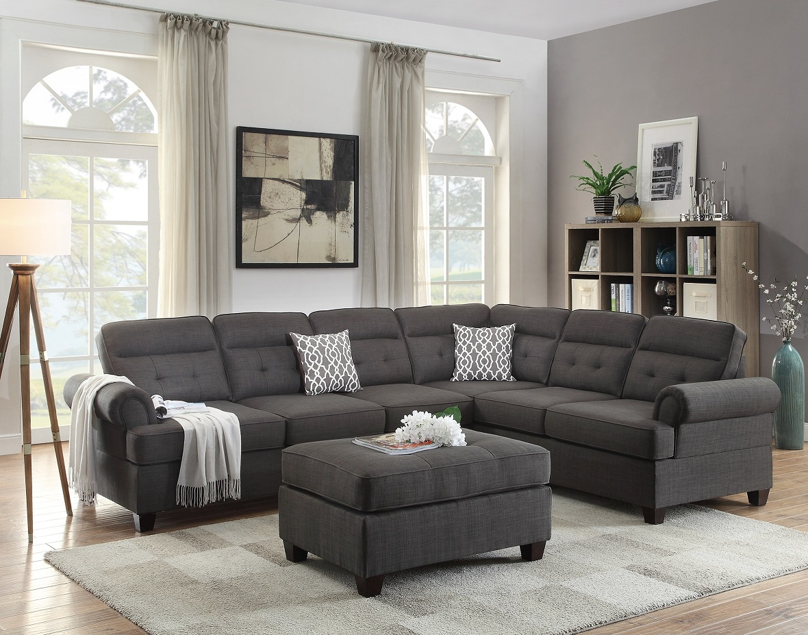 Sectional Sofa Loveseat Wedge 2pcs Living Room Set Furniture Ash Black Dorris Fabric Tufted Couch  sc 1 st  Walmart : wedge sectional - Sectionals, Sofas & Couches