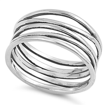 Sterling Silver Polished Panther (CHOOSE YOUR COLOR Knot Bar Line Design Polished Cute Ring New .925 Sterling Silver Band (Oxidized/Ring Size 12) )