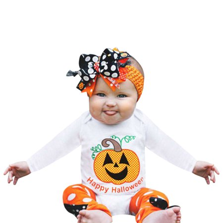 Mosunx Infant Toddler Baby Girls Pumpkin Romper Party Halloween Clothes - Pin Up Girl Clothing For Halloween