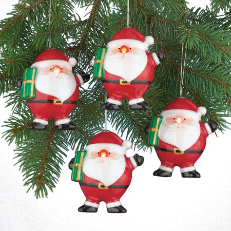 Lighted Santa Christmas Tree Ornaments Set of 4