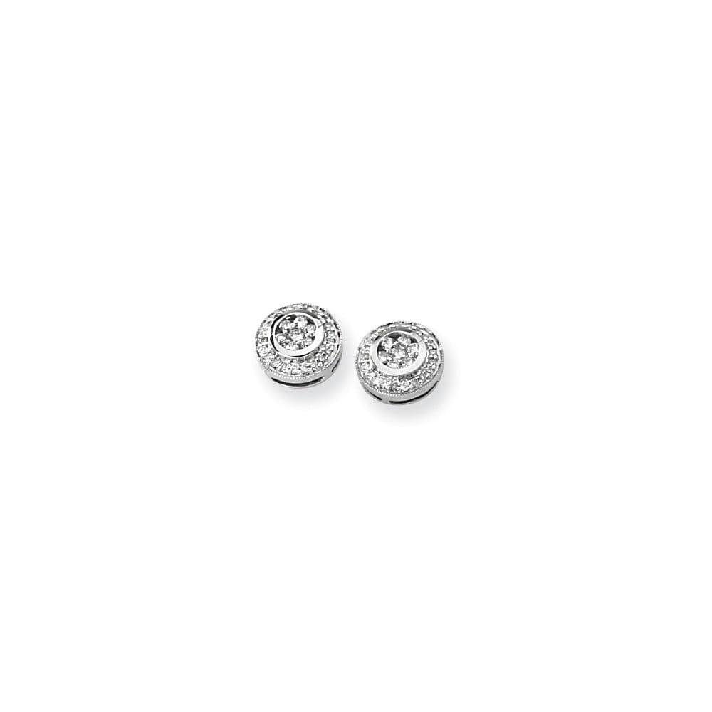 14K White Gold Diamond Cluster Earrings. Carat Wt- 0.5ct (10MM Long x 10MM Wide)