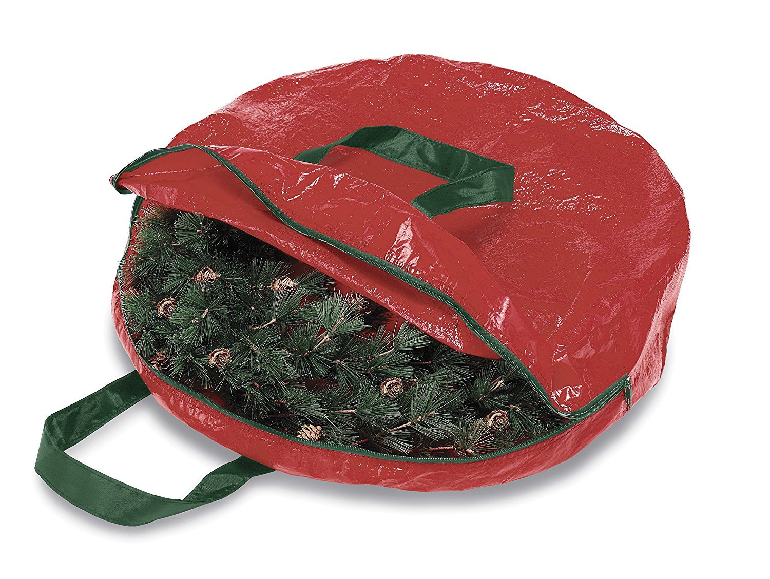 Christmas Wreath and Garland Storage Bag, Heavy Easy 30Inch Zippered Giftwrap Supreme Vacuum Bags Hanging Reusable... by
