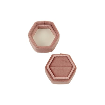 Ring Boxes Wholesale (Koyal Wholesale Velvet Ring Box, Dusty Rose, Hexagon Vintage Ring Box with Detachable Lid, 2 Piece Engagement Ring)