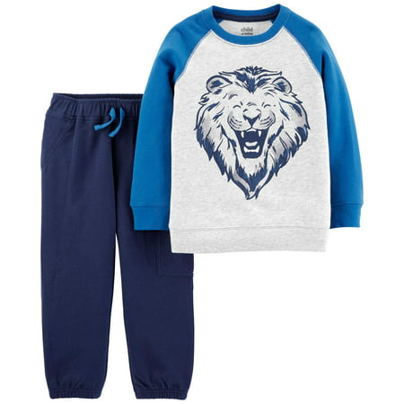 Child of Mine Long Sleeve Graphic T-Shirt & Jogger Pants, 2-Piece Outfit Set (Toddler Boys) - Chinese Outfit For Kids