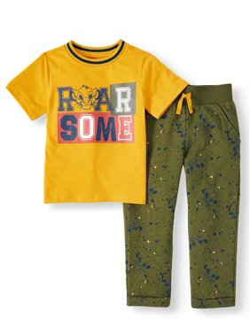 The Lion King Short Sleeve Graphic T-shirt & French Terry Printed Jogger Pants, 2pc Outfit Set (Toddler Boys)