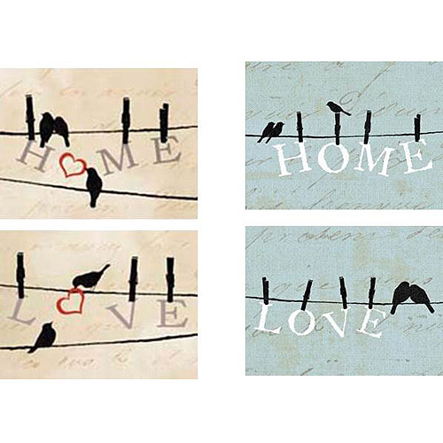"Home/Love Birds On Wire Inspirational Canvas Wall Art, 6.5"" x 8.5"", 4-Pack"
