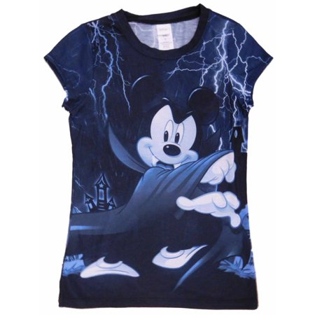 Disney Junior Womens Gray Mickey Mouse Vampire Halloween T-Shirt Tee](Halloween Disney Junior)