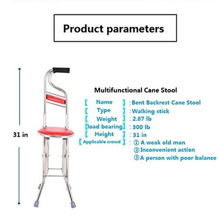 Cane Seat Walking Stick Folding Seat Portable Fishing Rest Stool Walking Cane Heavy Duty Type Light Adjustable Multifunctional Cane Chair for Elder Parents Gift - image 2 of 11