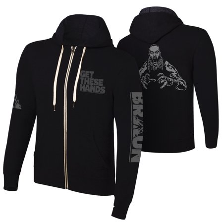 """Official WWE Authentic Braun Strowman """"Get These Hands"""" Full Zip Hoodie Sweatshirt Multi Small"""