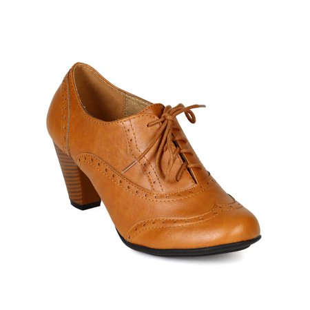 1a1277ea3d09 Refresh - New Women Refresh Amany Leatherette Lace Up Oxford Chunky Heel  Bootie - Walmart.com