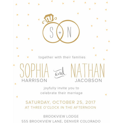 Joyful Rings Standard Wedding Invitation