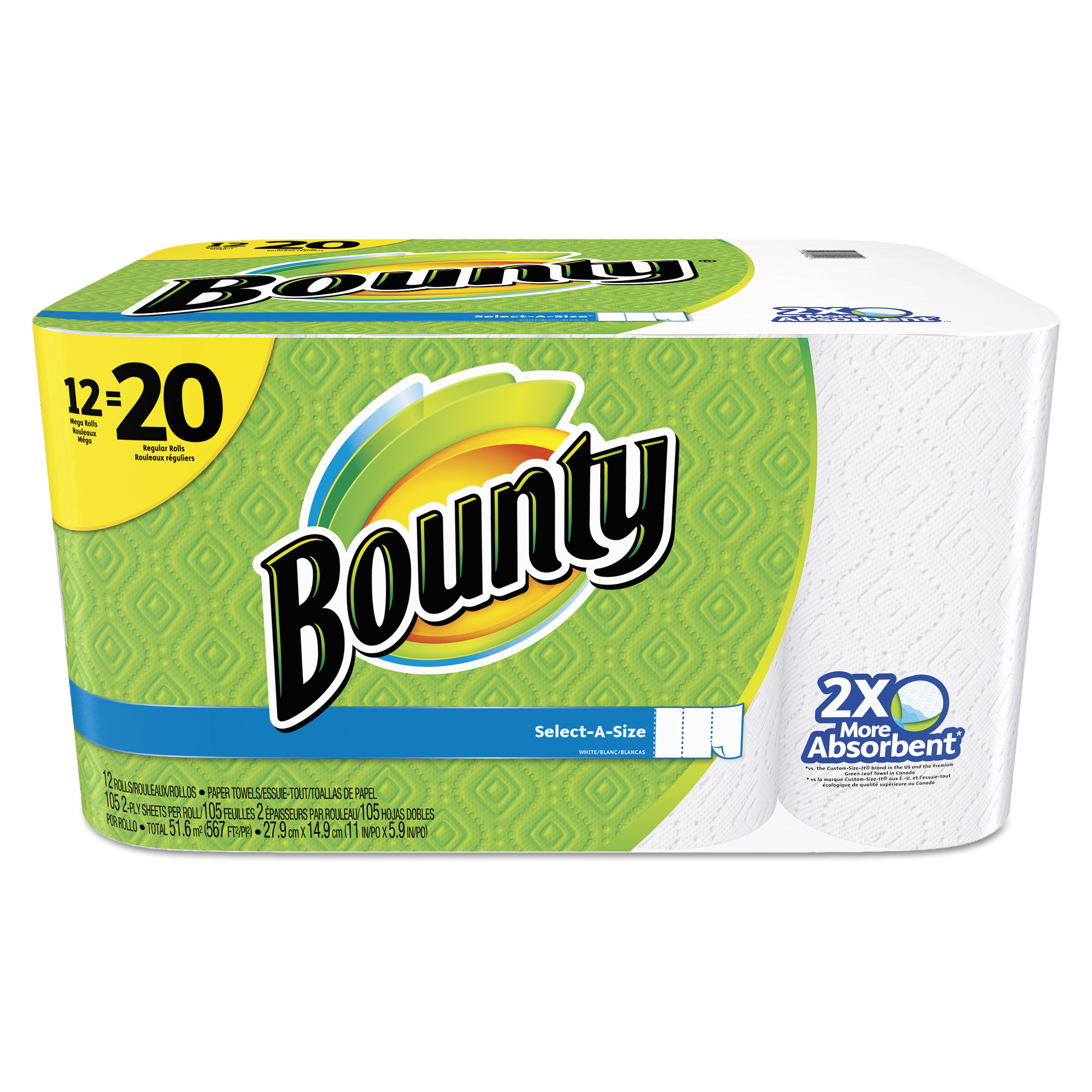 Bounty Paper Towels, Select-A-Size, 12 Mega Rolls by PROCTER & GAMBLE