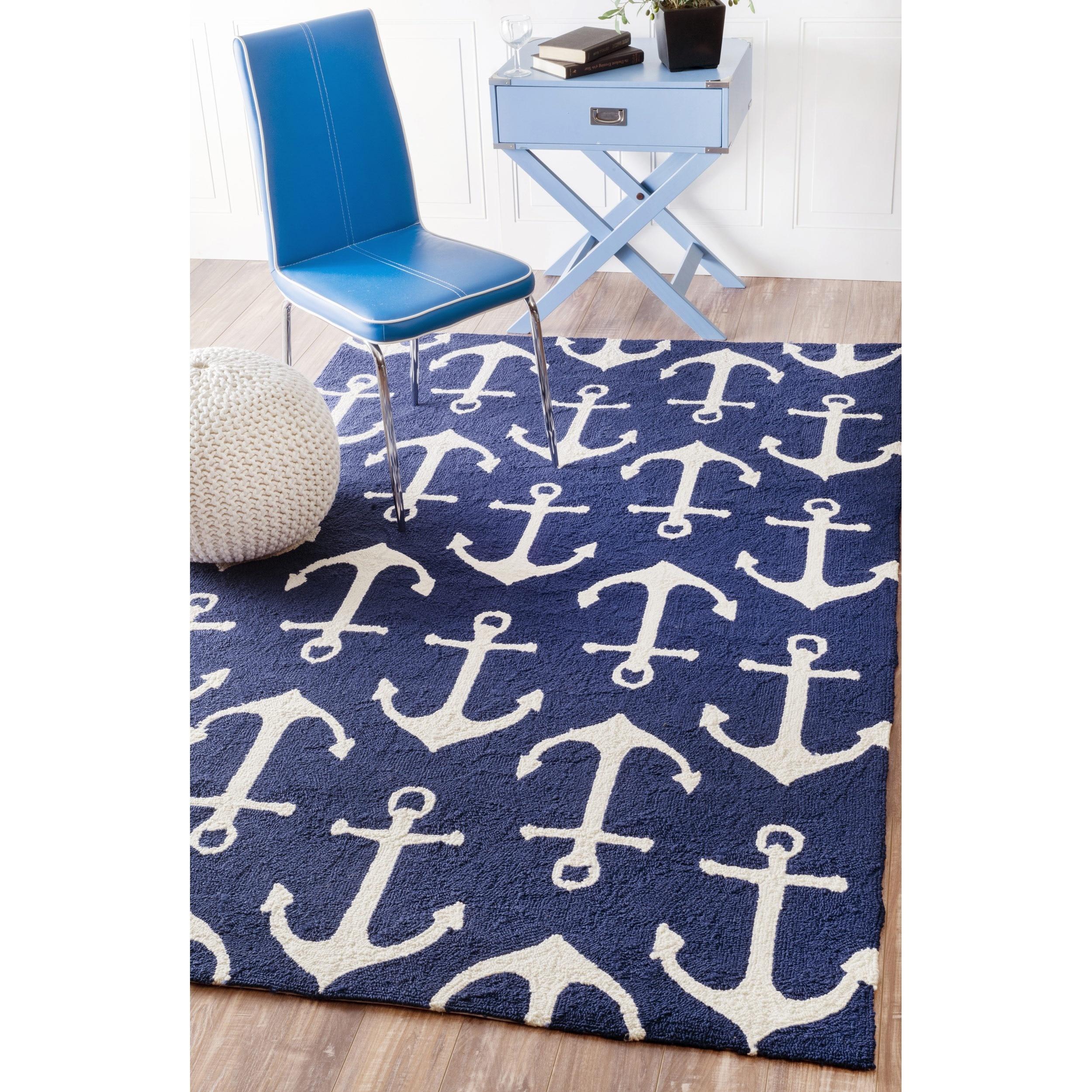 Nuloom Indoor Outdoor Novelty Nautical Anchors Area Rug 8 X 10 Com