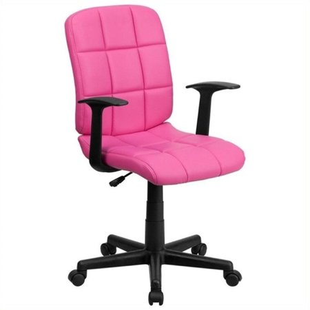 Scranton & Co Faux Leather Mid-Back Office Chair with Arms in Pink