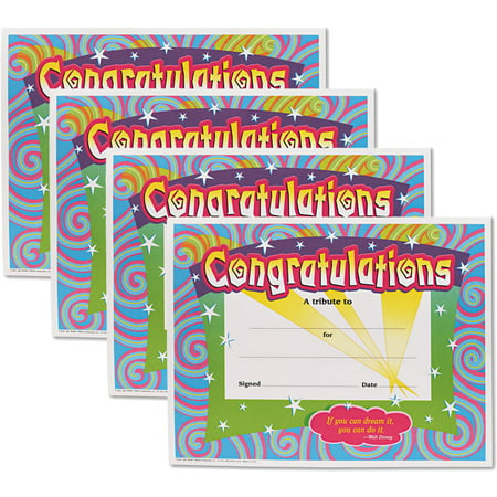 (4 Pack) Trend, TEPT2954, Congratulations/Swirls Award Certificates, 30 / Pack