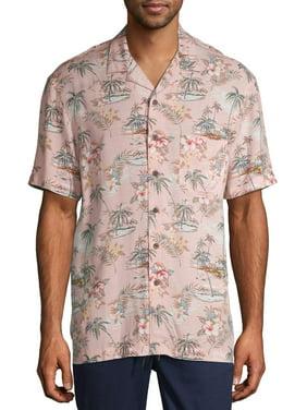 George Men's and Big Men's Short Sleeve Tropical Print Shirt