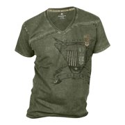 Polaris Men's Olive Green Mountain V-Neck Short Sleeve T-shirt