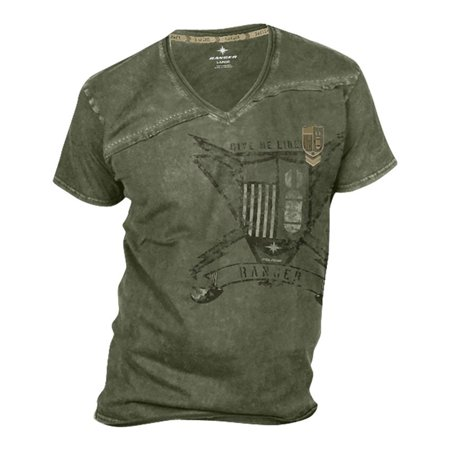 Polaris Men's Olive Green Mountain V-Neck Short Sleeve