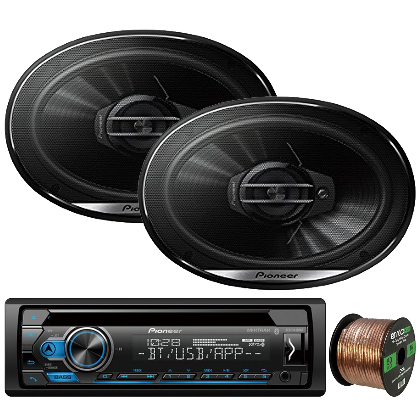"Pioneer DEH-S4100BT In-Dash Single-DIN CD Player Bluetooth Receiver, 2 x Pioneer TS-G6930F 6x9"" 3-Way Coaxial 400W Max Car Speakers, Enrock Audio 16-Gauge 50Ft. CCA Speaker Wire"