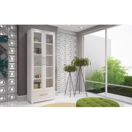Serra 1.0- 5- Shelf Bookcase in White Glass Traditional Bookcase