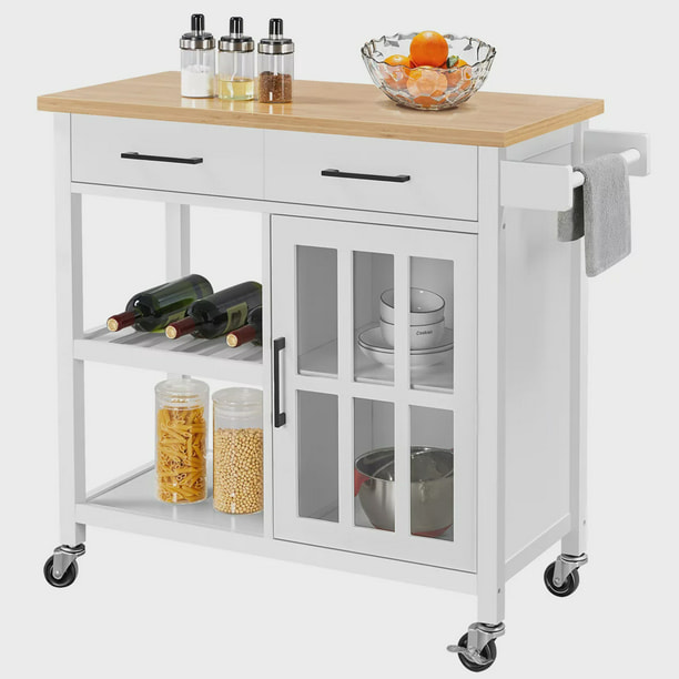 Yaheetech Mobile Kitchen Island Kitchen Cart With Bamboo Top And Storage Tempered Glass Cabinet Door White Walmart Com Walmart Com