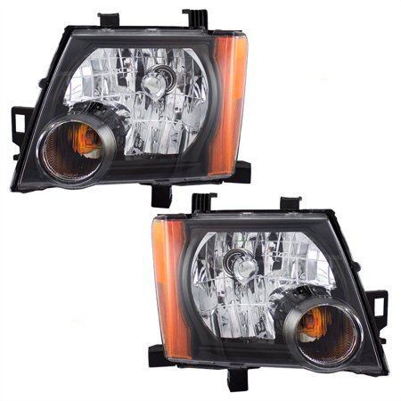 Nissan Xterra Replacement Headlight - BROCK Halogen Combination Headlights Headlamps with Black Bezels Pair Set Replacements for 05-15 Nissan Xterra 26060-ZL00A 26010-ZL00A