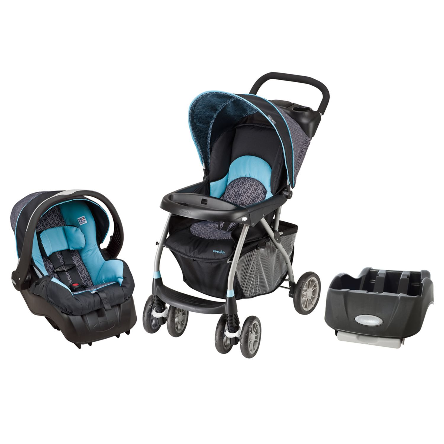 Evenflo Infant Baby Little Journey Travel 300 Car Seat Stroller Bundle Koi