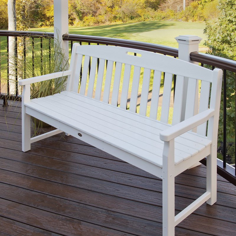 Trex Outdoor Furniture Yacht Club Bench   Classic White   48W In.