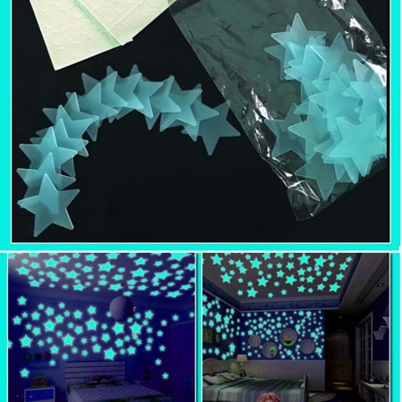 Akoyovwerve 100Pcs 3D Glow in the Dark Stars Ceiling Wall Lighting Stickers for Living Home Decor, Blue - Glow In The Dark Blacklight