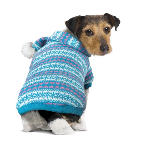 Scarf Dog Clothing - Dog Christmas Sweater and Scarf Set, Large, Blue