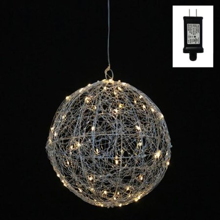 6 warm white led lighted hanging silver wire ball christmas ornament decoration - Lighted Wire Christmas Decorations