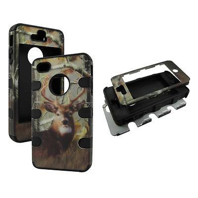 For Apple Iphone 4 , 4S , 4G Hybrid Drop Protective Shock Proof Shock Absorb Enhanced Bumper Dual Layer Designer Case Shield Box Bak Deer pinetree Camo Case