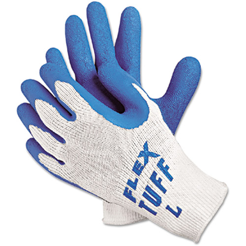 Memphis FlexTuff Latex Dipped Gloves, White/Blue, Large, 12 Pairs