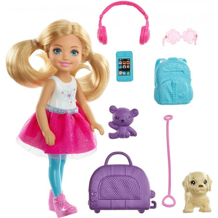 Barbie Chelsea Doll & Travel Set with Puppy & Accessories](Chelsea Smile)