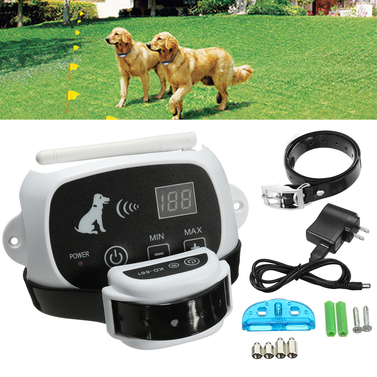 wireless remote pet 12 dog fence nowire training containment system collar